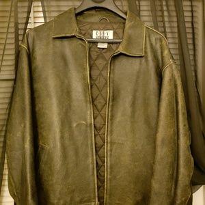 black Men's vintage look leather jacket